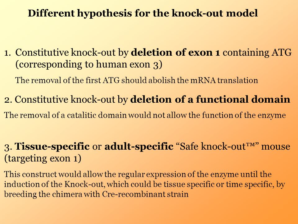 Different hypothesis for the knock-out model