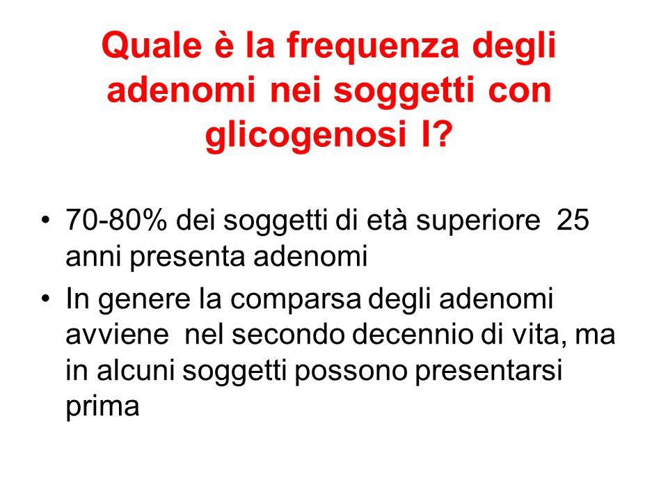 Quale è la frequenza degli adenomi nei soggetti con glicogenosi I