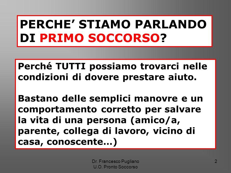 PERCHE' STIAMO PARLANDO DI PRIMO SOCCORSO