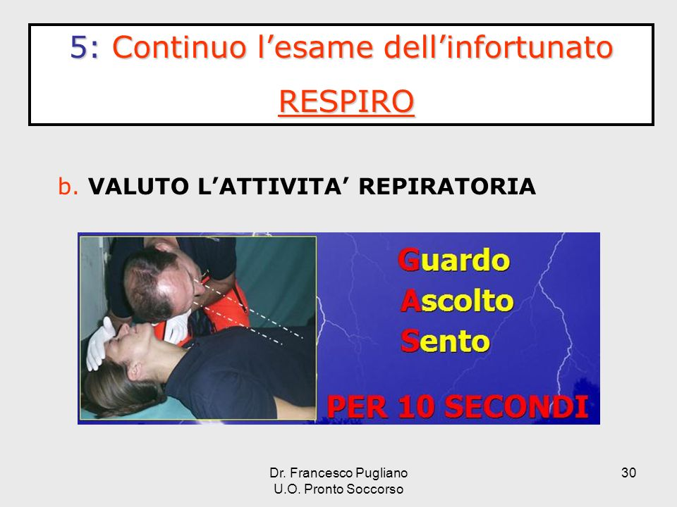 5: Continuo l'esame dell'infortunato