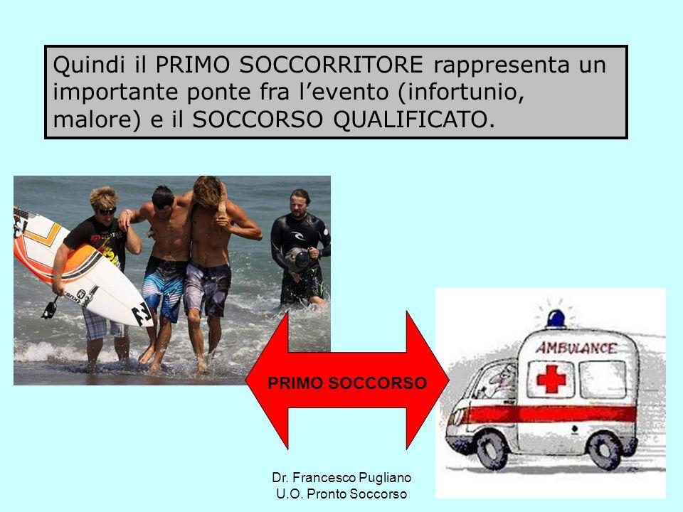 Quindi il PRIMO SOCCORRITORE rappresenta un importante ponte fra l'evento (infortunio, malore) e il SOCCORSO QUALIFICATO.