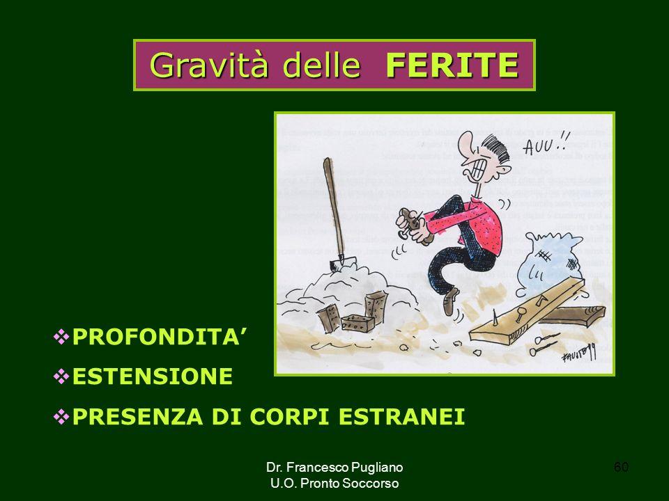 Gravità delle FERITE PROFONDITA' ESTENSIONE PRESENZA DI CORPI ESTRANEI