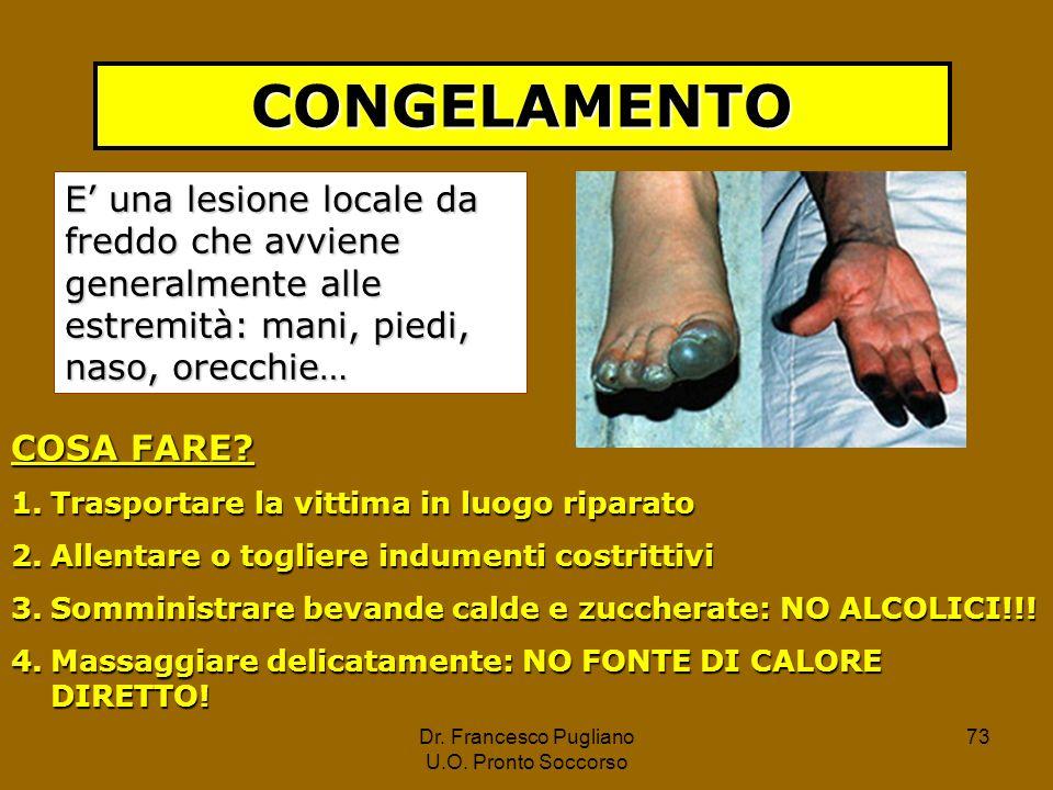 CONGELAMENTO E' una lesione locale da freddo che avviene generalmente alle estremità: mani, piedi, naso, orecchie…