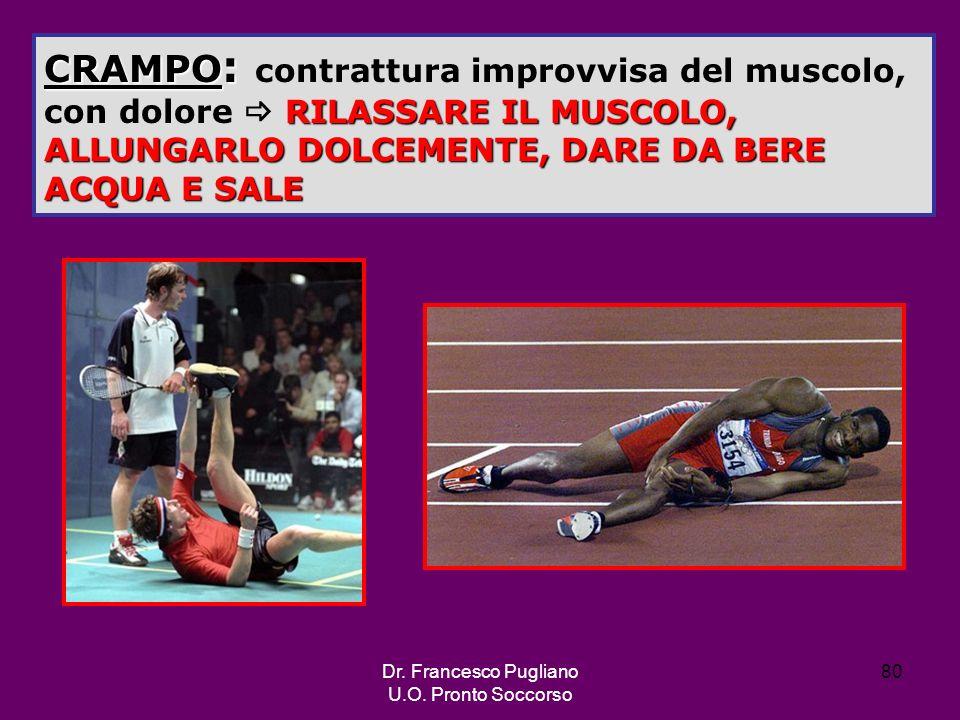 CRAMPO: contrattura improvvisa del muscolo, con dolore  RILASSARE IL MUSCOLO, ALLUNGARLO DOLCEMENTE, DARE DA BERE ACQUA E SALE
