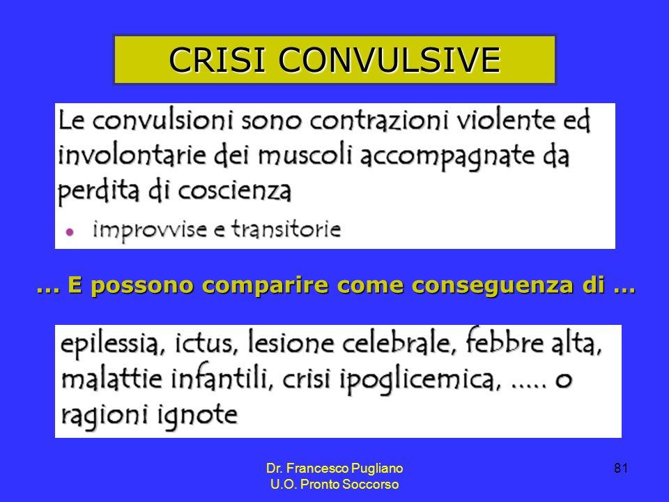 CRISI CONVULSIVE ... E possono comparire come conseguenza di …