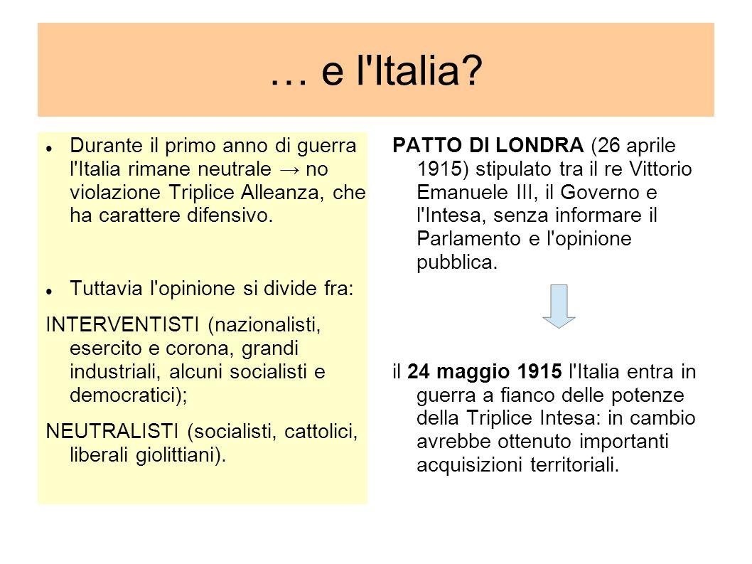 … e l Italia Durante il primo anno di guerra l Italia rimane neutrale → no violazione Triplice Alleanza, che ha carattere difensivo.