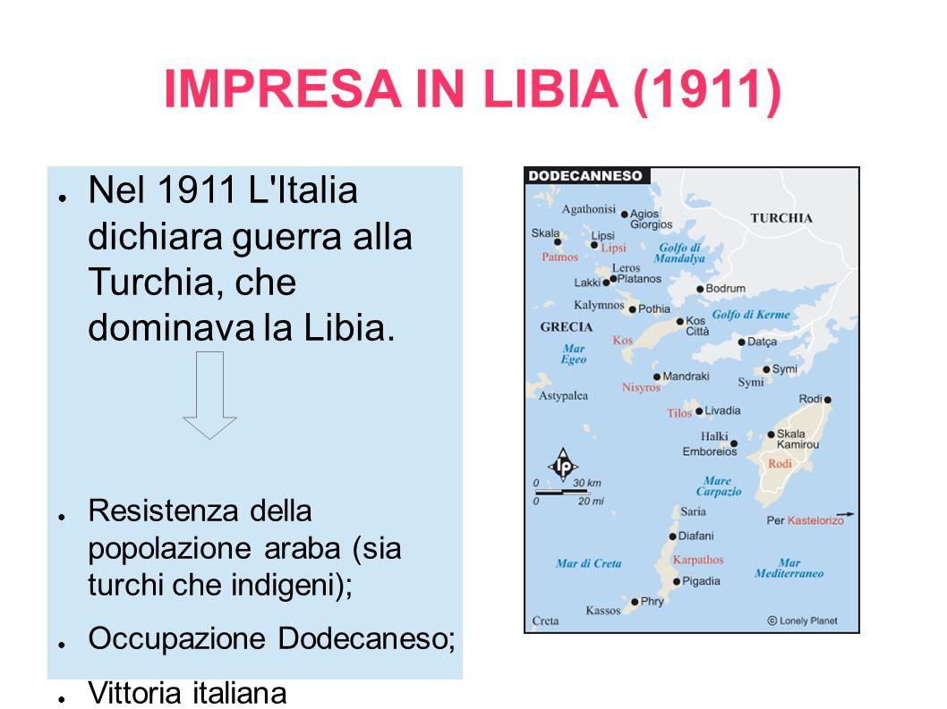 IMPRESA IN LIBIA (1911) Nel 1911 L Italia dichiara guerra alla Turchia, che dominava la Libia.
