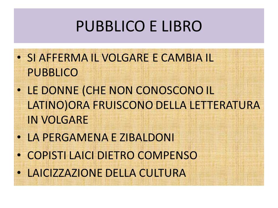 PUBBLICO E LIBRO SI AFFERMA IL VOLGARE E CAMBIA IL PUBBLICO