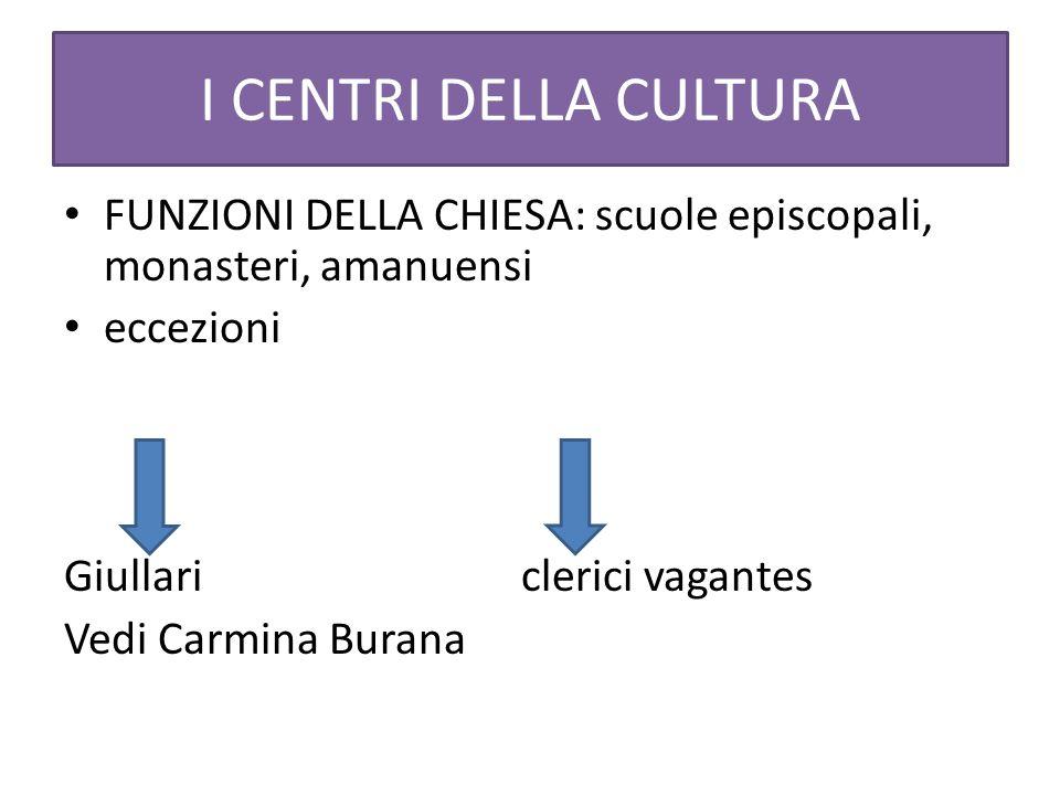 I CENTRI DELLA CULTURA FUNZIONI DELLA CHIESA: scuole episcopali, monasteri, amanuensi. eccezioni.