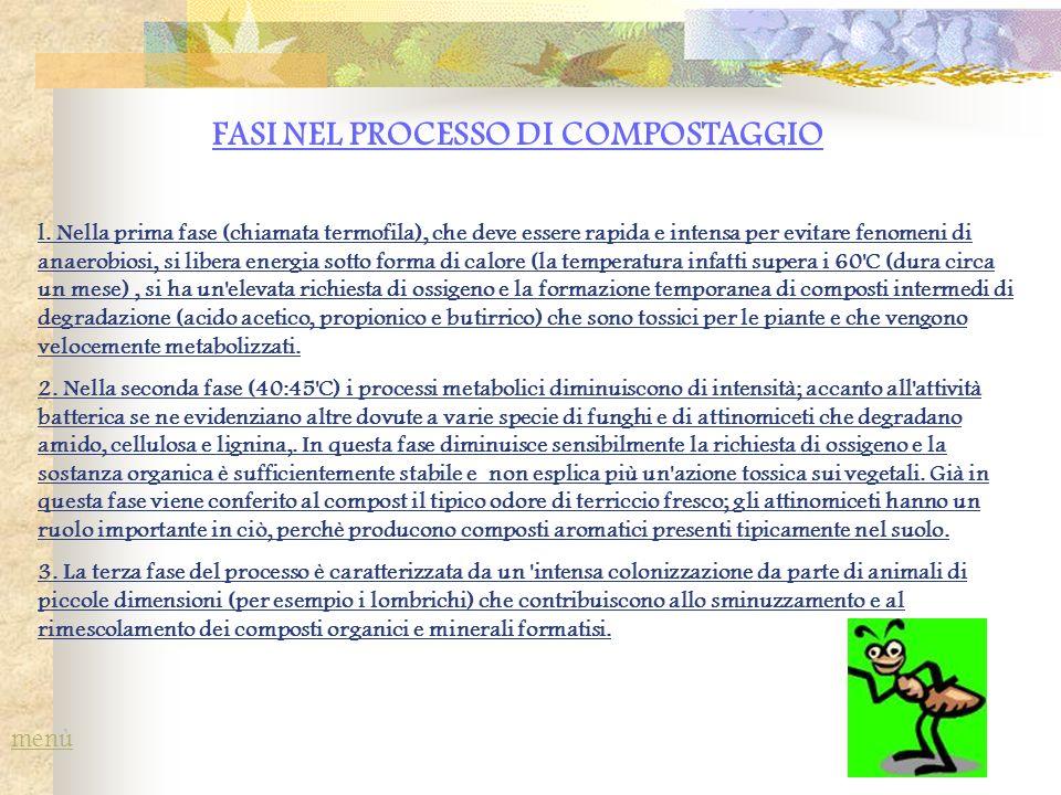 FASI NEL PROCESSO DI COMPOSTAGGIO