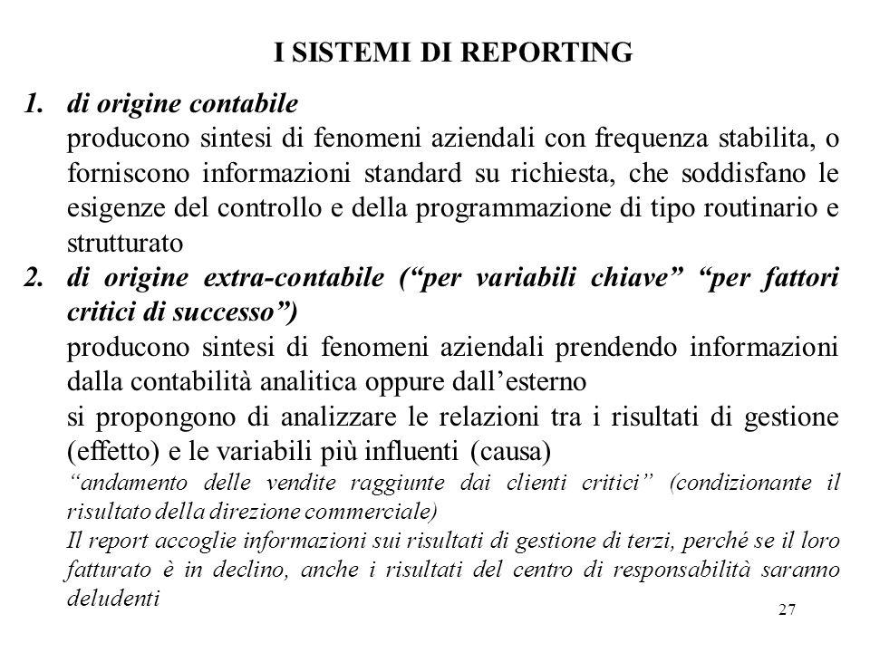 I SISTEMI DI REPORTING di origine contabile