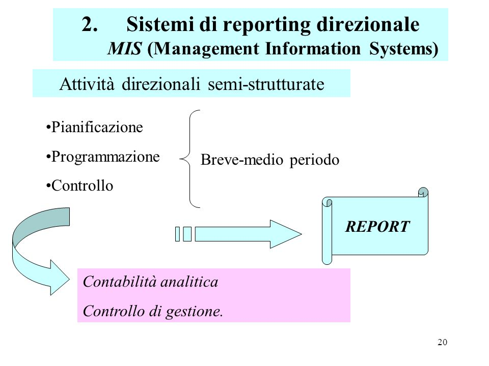 Sistemi di reporting direzionale MIS (Management Information Systems)