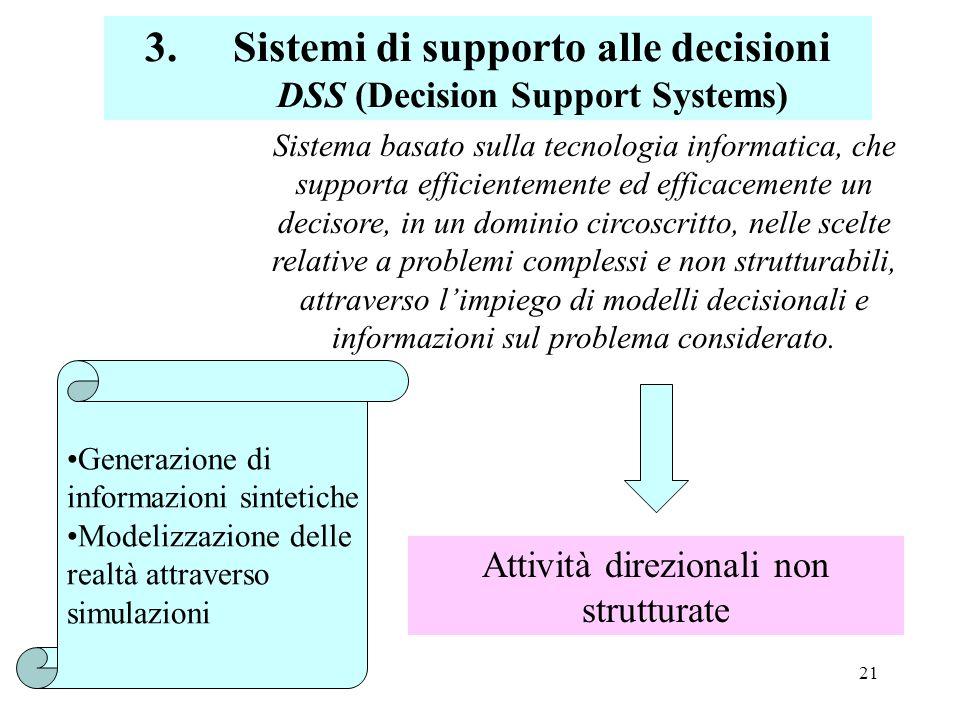 Sistemi di supporto alle decisioni DSS (Decision Support Systems)