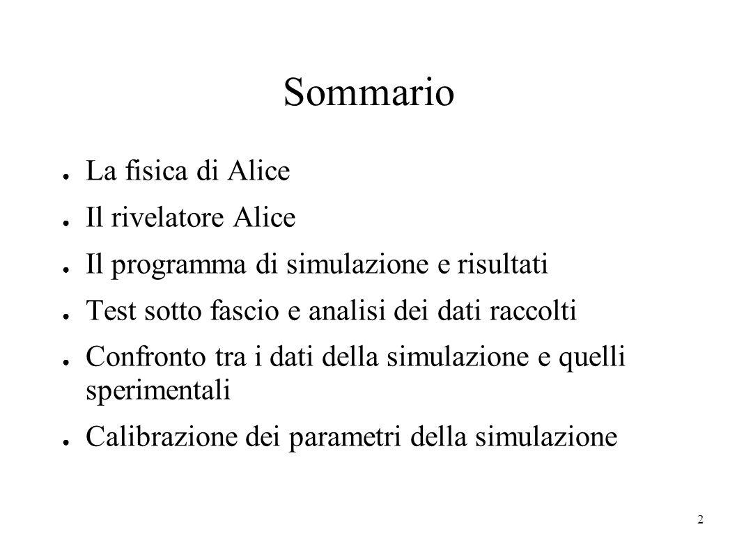 Sommario La fisica di Alice Il rivelatore Alice
