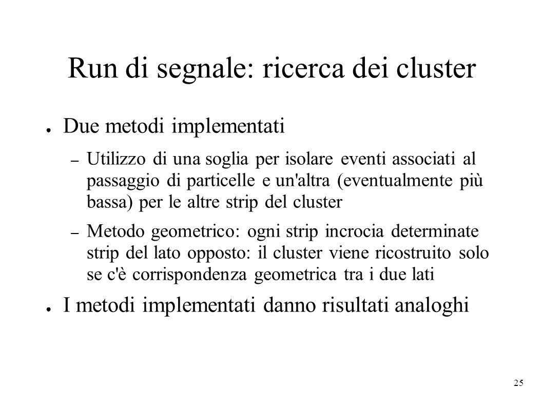 Run di segnale: ricerca dei cluster
