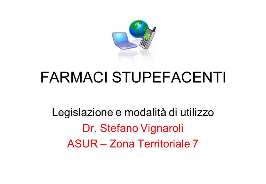 FARMACI STUPEFACENTI Legislazione e modalità di utilizzo