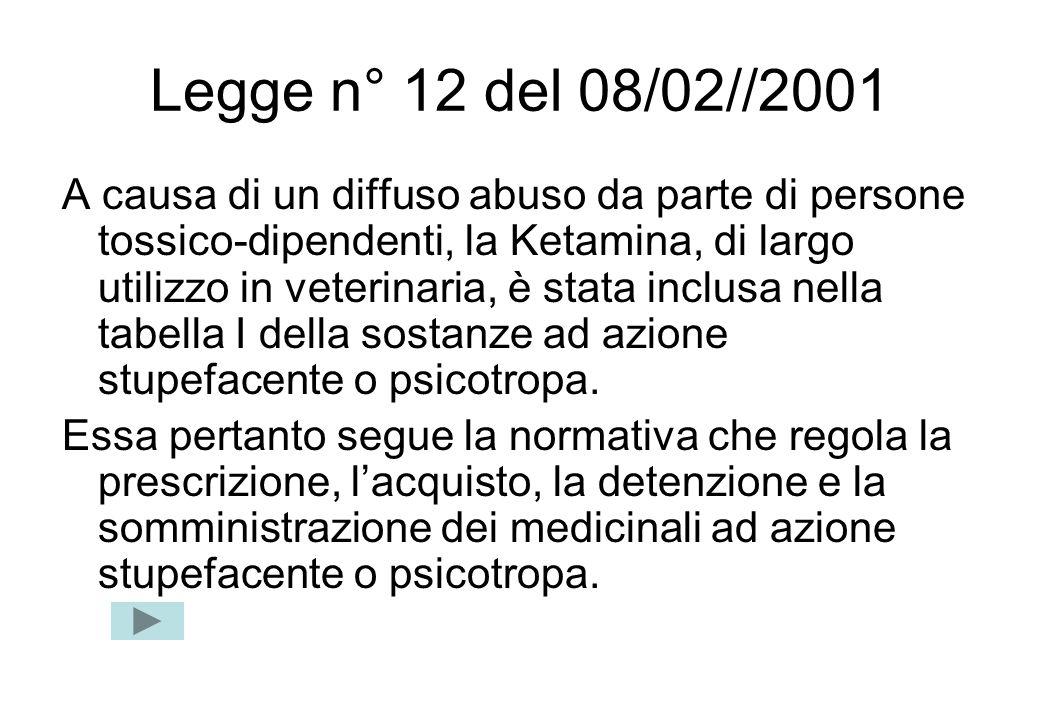 Legge n° 12 del 08/02//2001