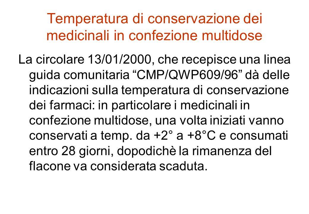 Temperatura di conservazione dei medicinali in confezione multidose