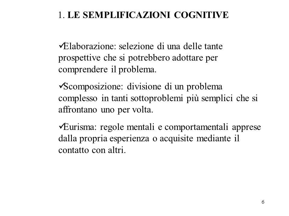 1. LE SEMPLIFICAZIONI COGNITIVE