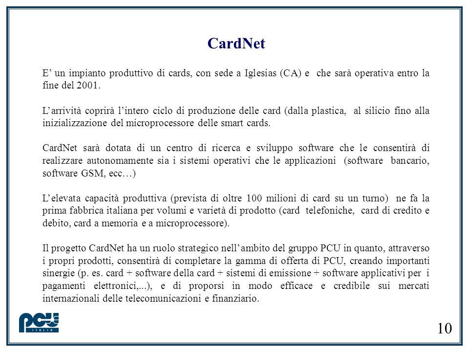 CardNet E' un impianto produttivo di cards, con sede a Iglesias (CA) e che sarà operativa entro la fine del 2001.