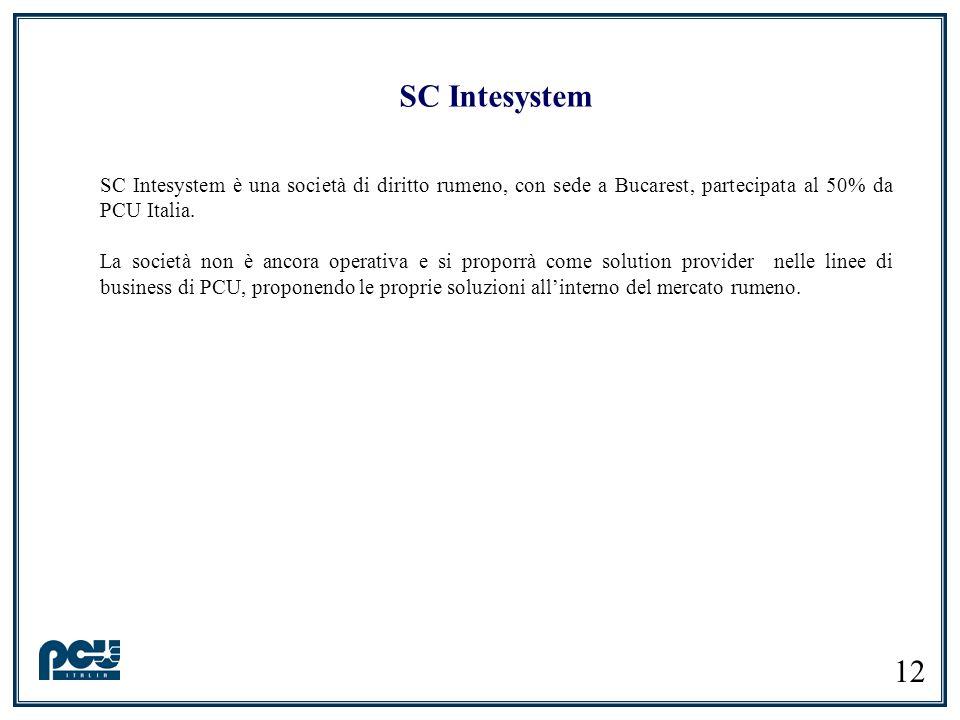 SC Intesystem SC Intesystem è una società di diritto rumeno, con sede a Bucarest, partecipata al 50% da PCU Italia.