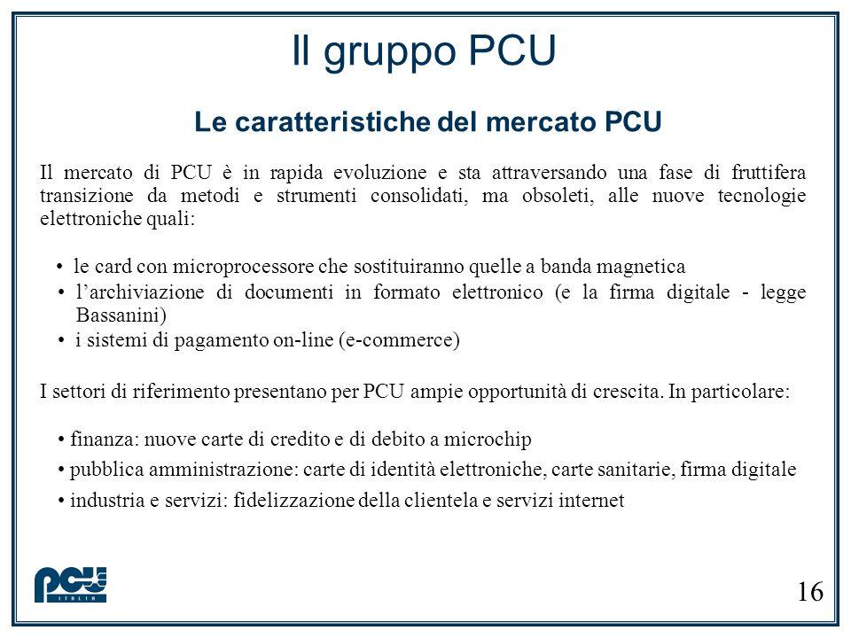 Il gruppo PCU Le caratteristiche del mercato PCU