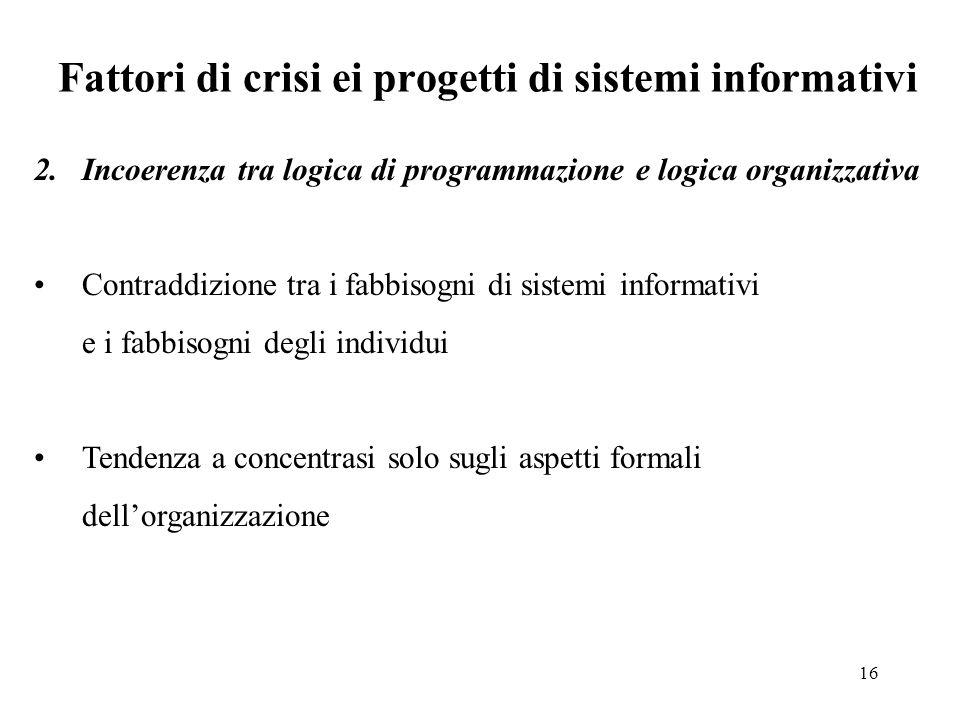Fattori di crisi ei progetti di sistemi informativi