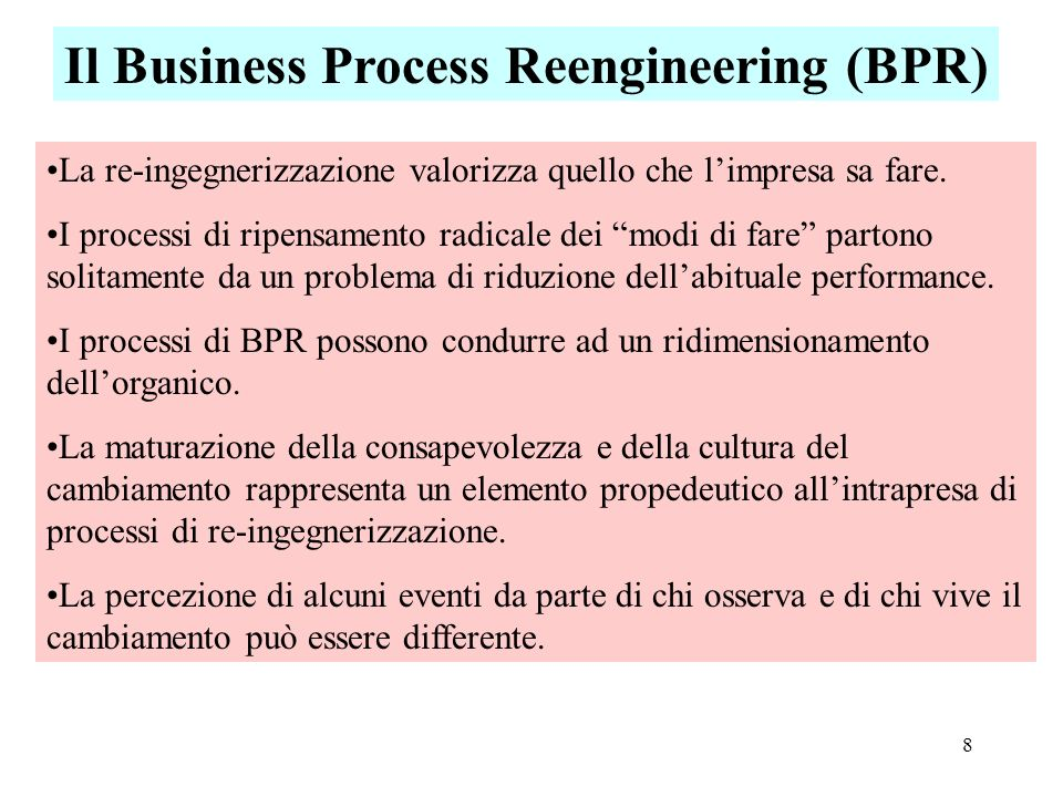 Il Business Process Reengineering (BPR)