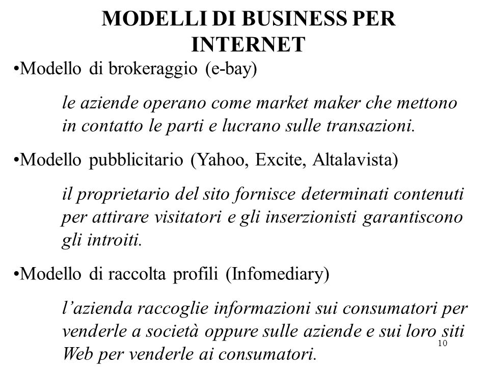 MODELLI DI BUSINESS PER INTERNET