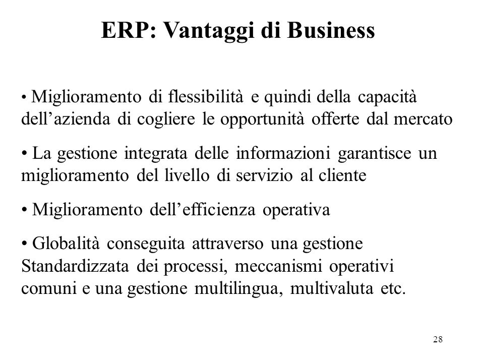 ERP: Vantaggi di Business