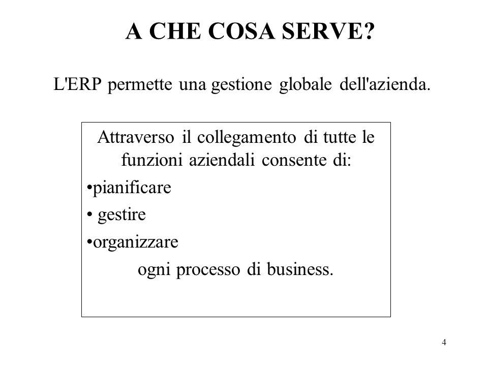 L ERP permette una gestione globale dell azienda.