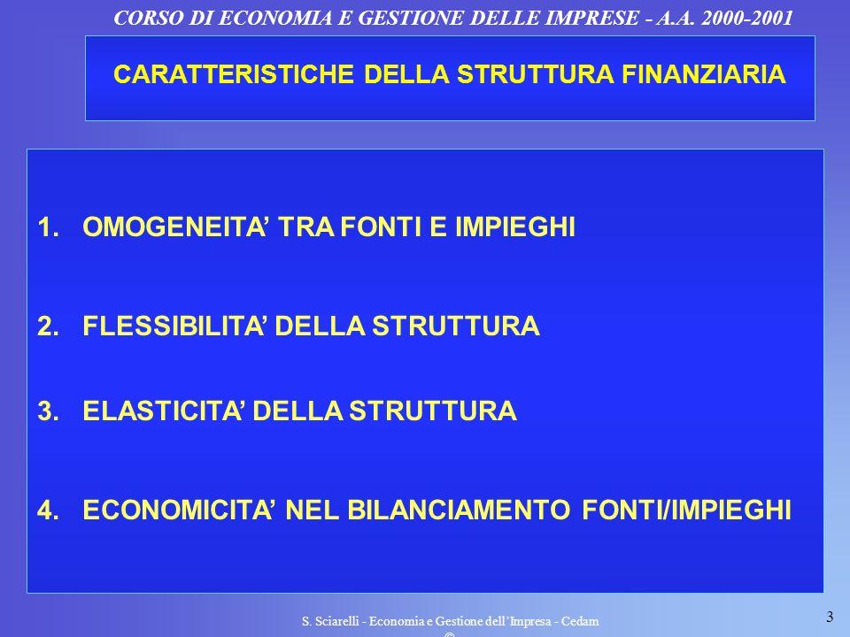 1. OMOGENEITA' TRA FONTI E IMPIEGHI