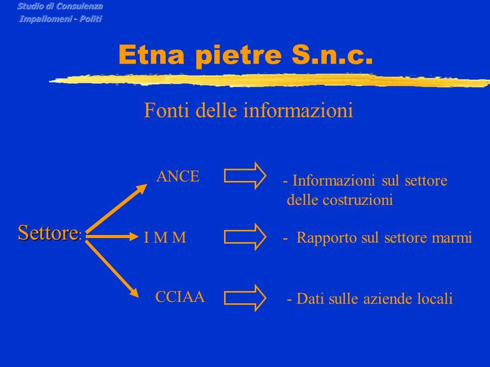 Etna pietre S.n.c. Fonti delle informazioni Settore: ANCE