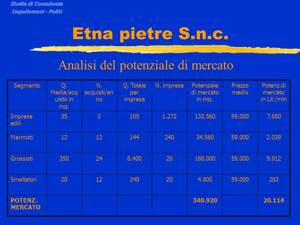 Etna pietre S.n.c. Analisi del potenziale di mercato Segmento