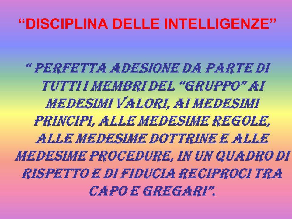 DISCIPLINA DELLE INTELLIGENZE