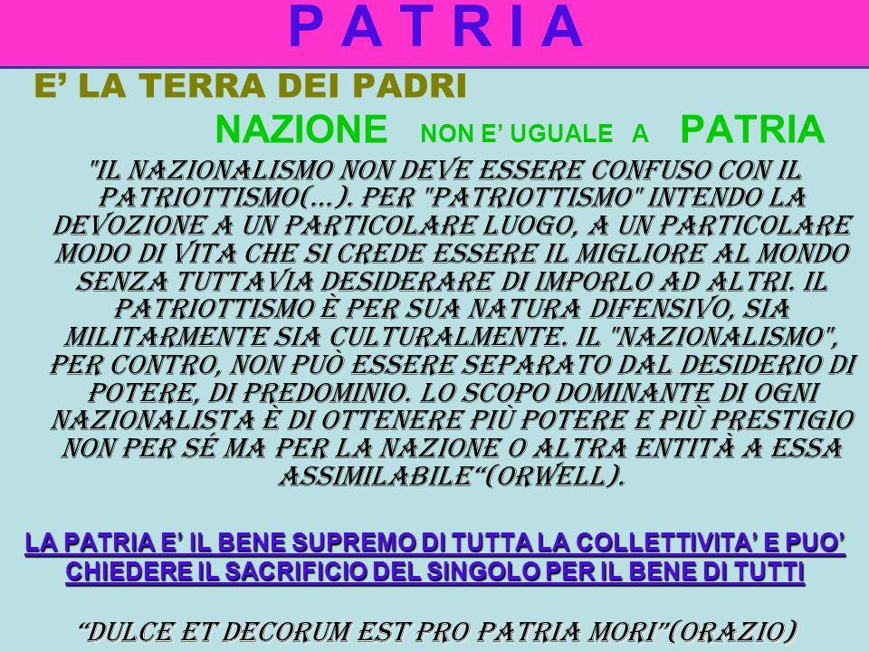 P A T R I A DULCE ET DECORUM EST PRO PATRIA MORI (ORAZIO)
