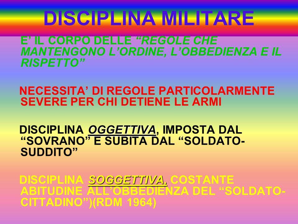 DISCIPLINA MILITARE E' IL CORPO DELLE REGOLE CHE MANTENGONO L'ORDINE, L'OBBEDIENZA E IL RISPETTO