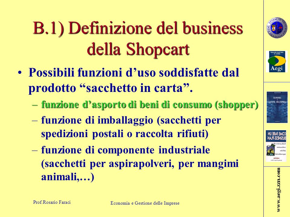 B.1) Definizione del business della Shopcart