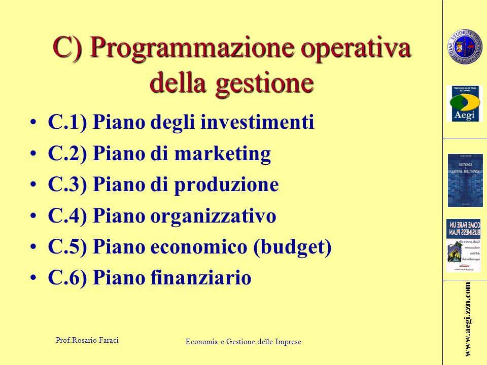 C) Programmazione operativa della gestione