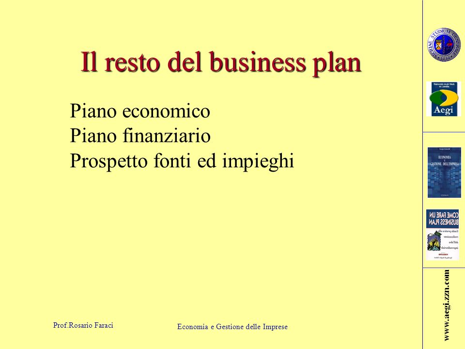 Il resto del business plan