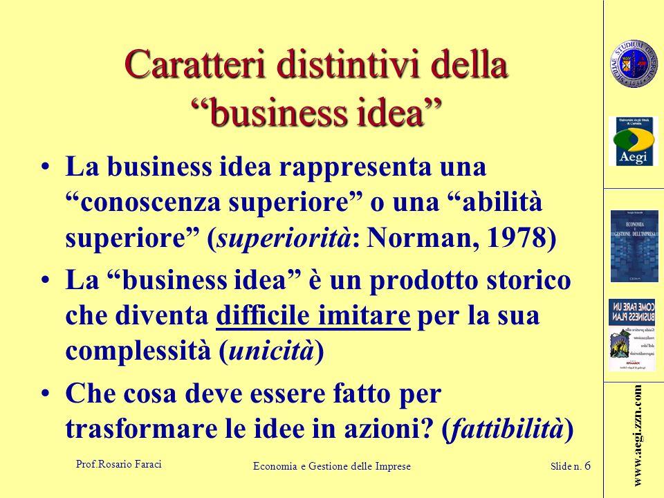 Caratteri distintivi della business idea