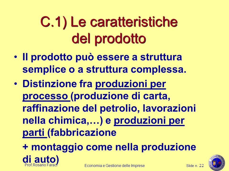 C.1) Le caratteristiche del prodotto