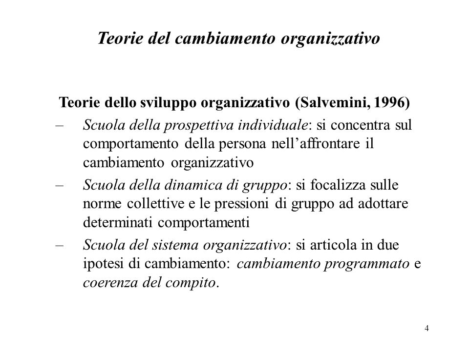 Teorie del cambiamento organizzativo