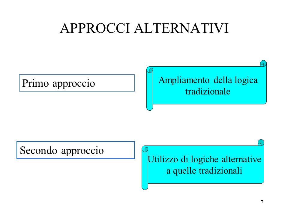 APPROCCI ALTERNATIVI Primo approccio Secondo approccio