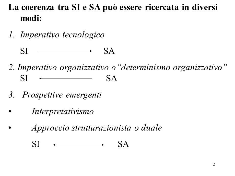La coerenza tra SI e SA può essere ricercata in diversi modi: