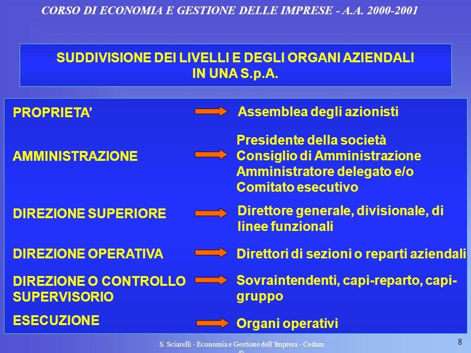 SUDDIVISIONE DEI LIVELLI E DEGLI ORGANI AZIENDALI IN UNA S.p.A.