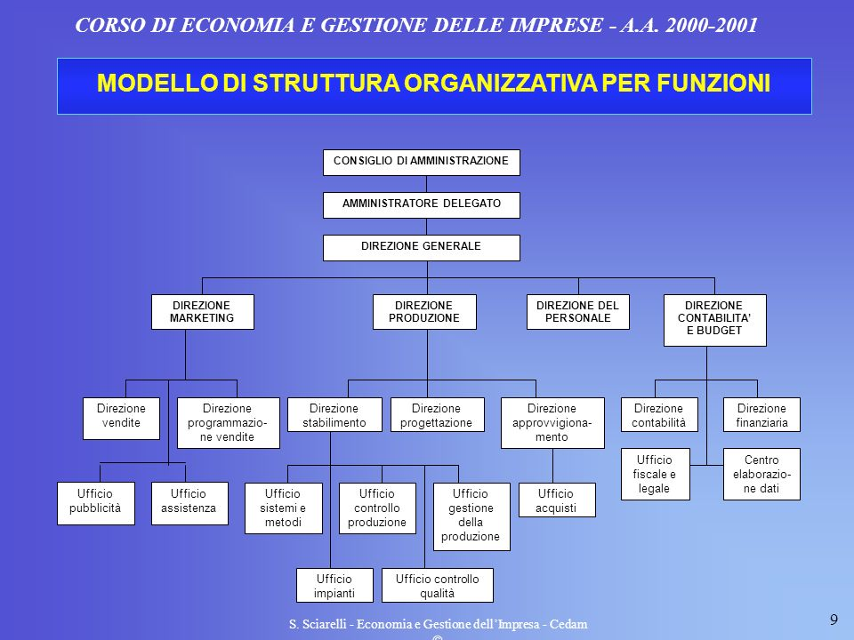 MODELLO DI STRUTTURA ORGANIZZATIVA PER FUNZIONI