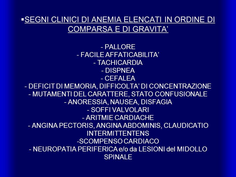 SEGNI CLINICI DI ANEMIA ELENCATI IN ORDINE DI COMPARSA E DI GRAVITA' - PALLORE - FACILE AFFATICABILITA' - TACHICARDIA - DISPNEA - CEFALEA - DEFICIT DI MEMORIA, DIFFICOLTA' DI CONCENTRAZIONE - MUTAMENTI DEL CARATTERE, STATO CONFUSIONALE - ANORESSIA, NAUSEA, DISFAGIA - SOFFI VALVOLARI - ARITMIE CARDIACHE - ANGINA PECTORIS, ANGINA ABDOMINIS, CLAUDICATIO INTERMITTENTENS -SCOMPENSO CARDIACO - NEUROPATIA PERIFERICA e/o da LESIONI del MIDOLLO SPINALE