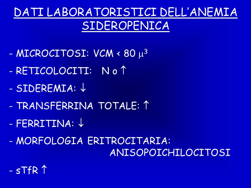 DATI LABORATORISTICI DELL'ANEMIA SIDEROPENICA