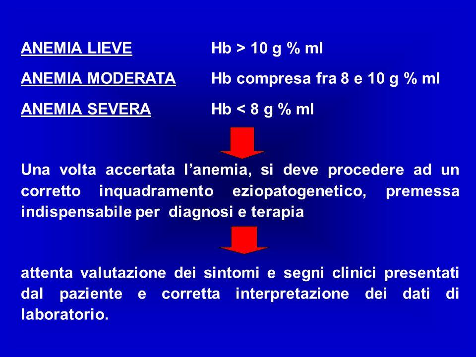 ANEMIA LIEVE Hb > 10 g % ml